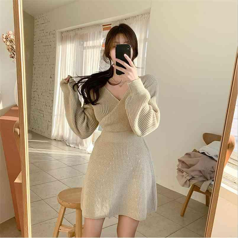 가을 스웨터 여성 드레스 겨울 긴 소매 스웨터 니트 드레스 여성 느슨한 맥시 오버 사이즈 뜨개질 겉옷 Vestido 210423