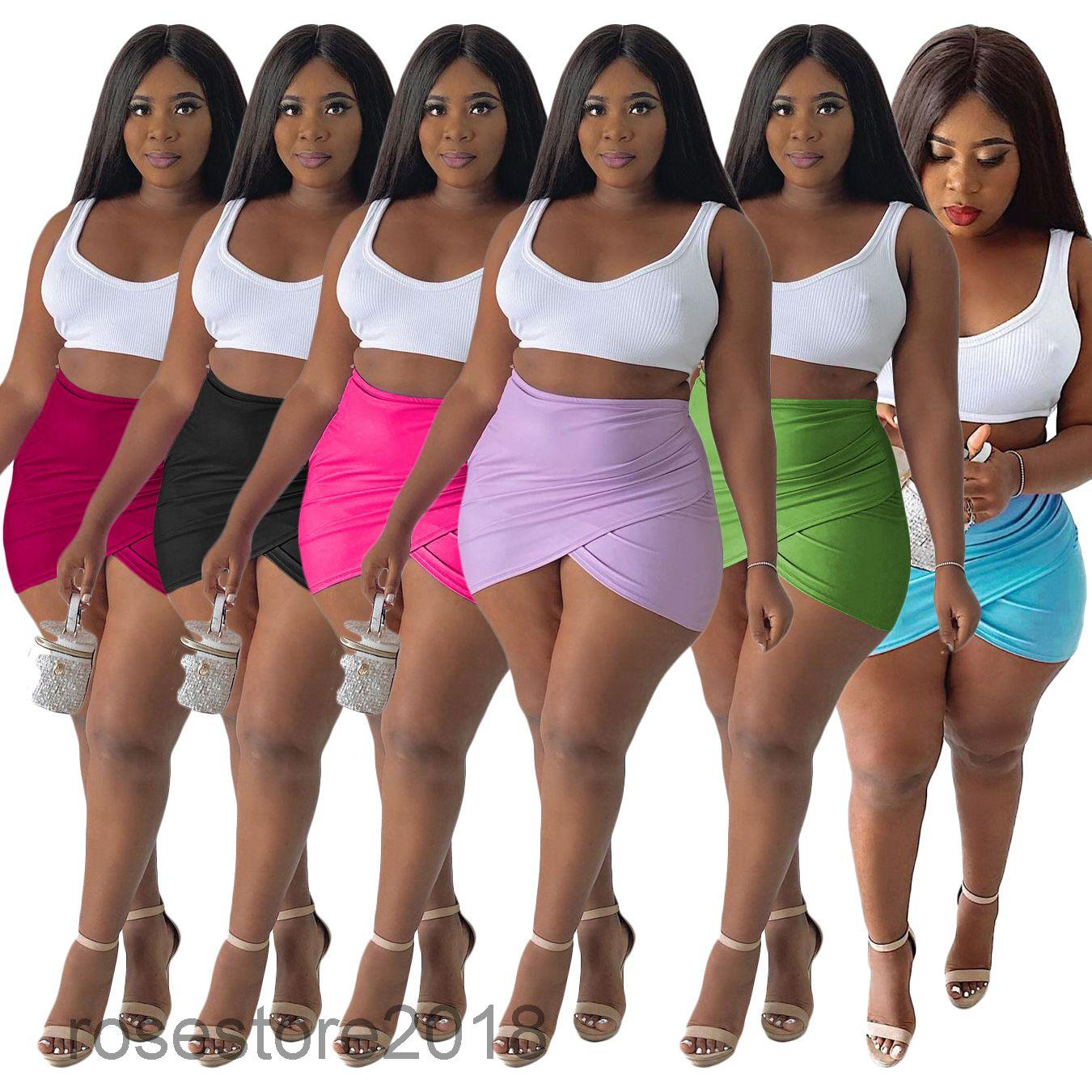 6 colors Hot selling women's short Skirt 2021 women's summer new platform solid color sexy Mini Skirt fashion Designer style Slim clothing