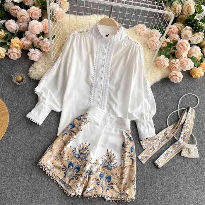 Duas peças chique womens blusa branco tops e impresso shorts de cintura alta feminina terno de escritório moda 2 peça conjunto de roupas