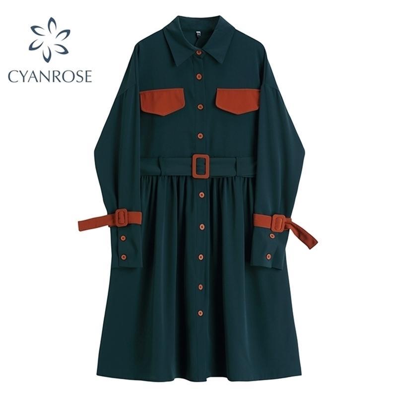 Tasche di modo Abbigliamento Casual Casual Shirt Dress Delle Donne Autunno Autunno Vintage Manica lunga A-Line Tempo libero Bondaggio Signore 210515