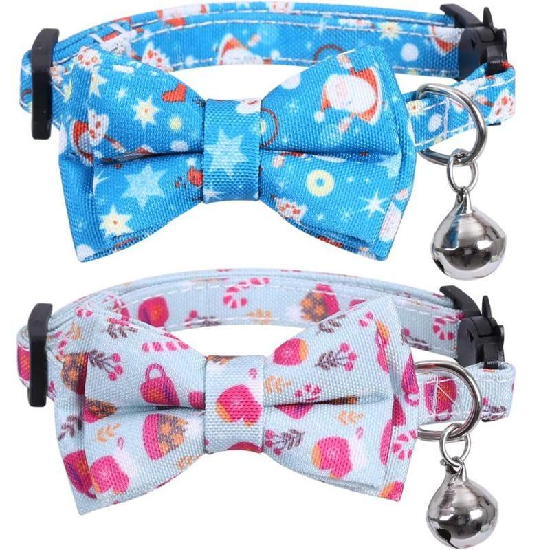 Breakaway do colar do gato do Natal com gravata borboleta e sino Padrões de Papai Noel Colares de gatinhos ajustáveis Acessórios para gatinhos