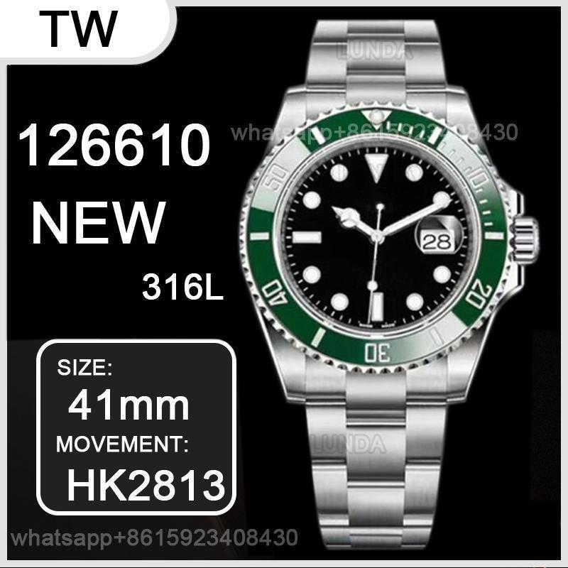 Yeşil Çerçeve 126610 41mm Erkek Mekanik SS 2813 Otomatik Hareketi İzle Tasarımcısı Spor Moda erkek Saatler Saatı