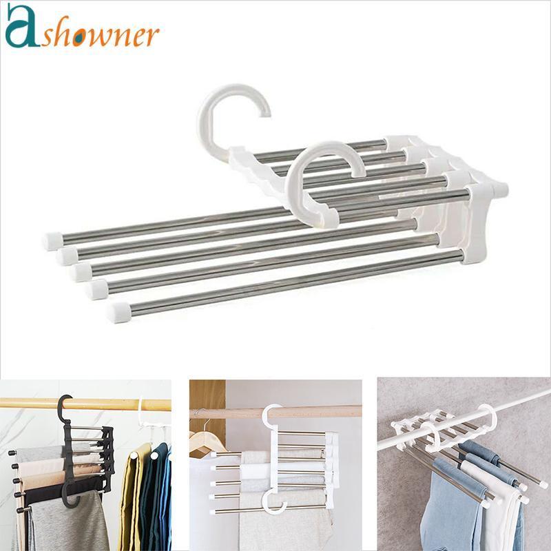 Cinqs racks multifonctionnels 5 en 1 pantalon de stockage de pantalons réglables Pantalon de storet Titre d'étagère Organisateur en acier inoxydable teneur en acier inoxydable