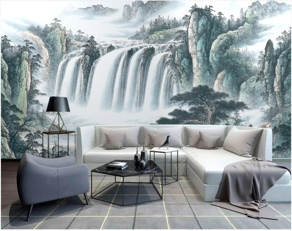 3D duvar kağıdı özel duvar po Çin tarzı dağ şelale mürekkep boyama manzara duvar duvar resimleri duvarlar için kağıt 3 d duvar kağıtları
