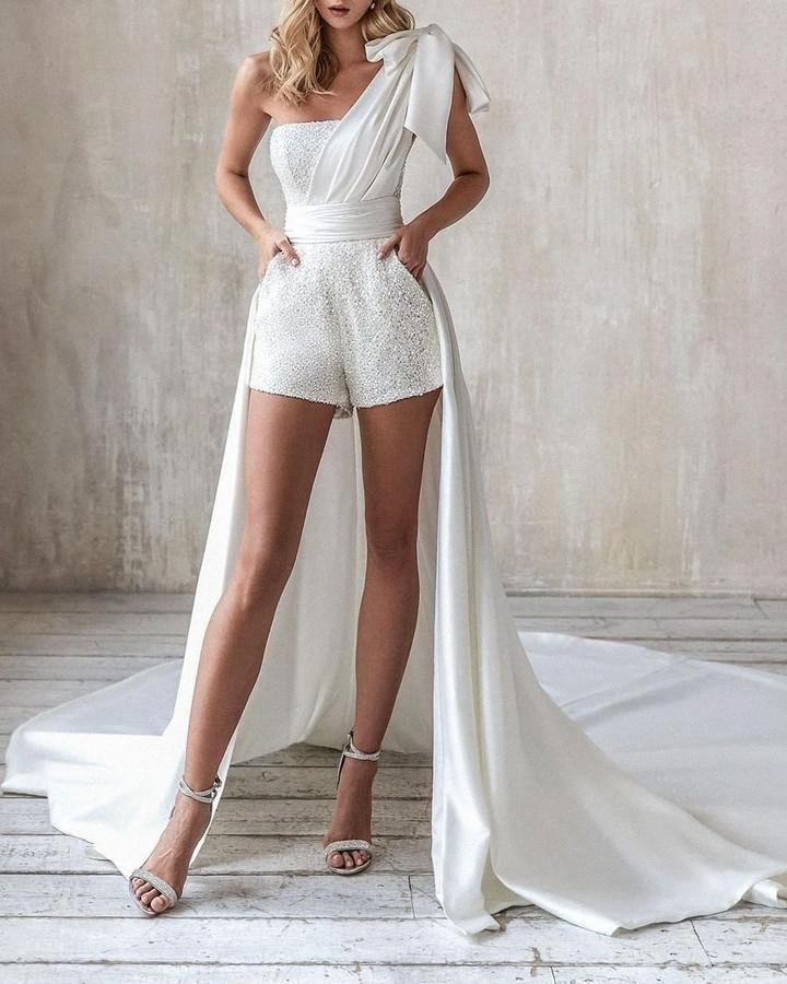 Felyn 2020 Ins Internet Celebrity Famous Fax 2 pcs Playsuits Solid Sequins One Shoulder Celebrity Party Bodycon Rompers l6KE#