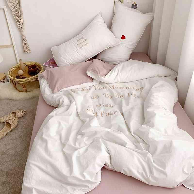 Nordeuropa gewaschene Baumwolle-Ins-klassische Bettwäsche-Set Winter frische Art-Abdeckung Bettwäsche angepasste Blechkissenbezüge 201128