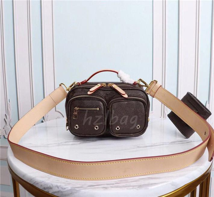 Sporty Utility Crossbody Bag Lightweight Cowhide Leather Designers Sliding Coin Purse Double Zip Closure Shoulder Bags