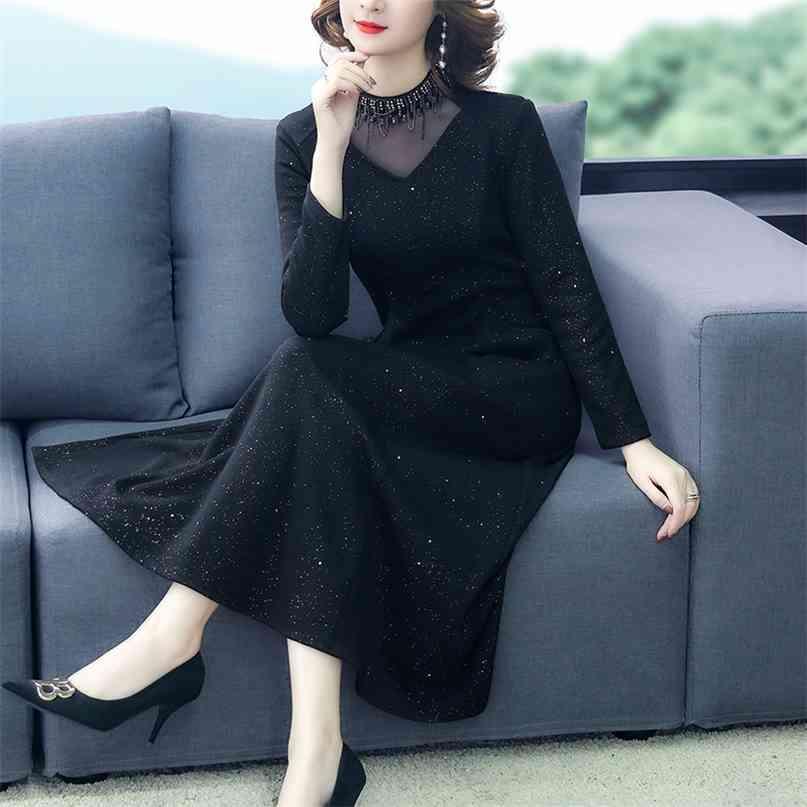 Herbst schwarz sexy plüsch gepolsterte seqins kleid winter vintage elegant 5xl plus größe midi kleider frauen bodycon party vestidos 210603