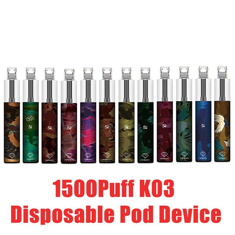 100% Authentic K03 Dispositivo Dispositivo Dispositivo de POD 1500Puff 850MAH Bateria de 850mAh 4,8ml Votes Vazes Vazes com Luz RGB Original vs Puff Plus Bang XXL
