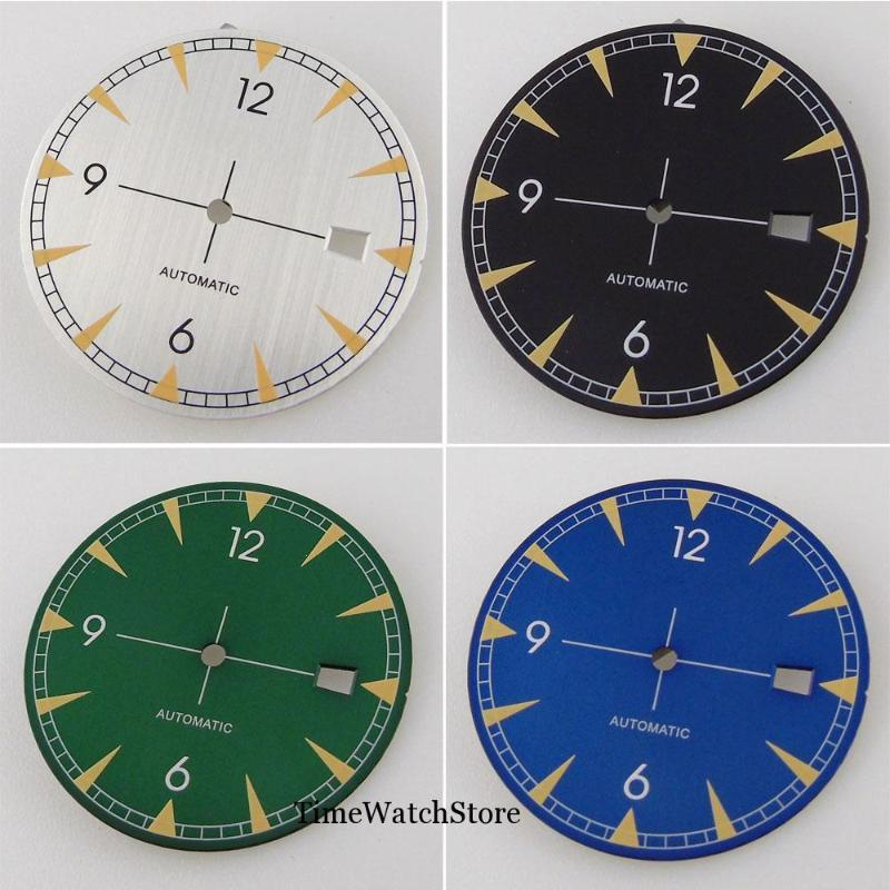 33.5mm Watch Dial Spare Parts Fit For NH35 / NH35A Automatic Movement Date Window White/Black/Green/ Blue Color Green Lume Repair Tools & Ki
