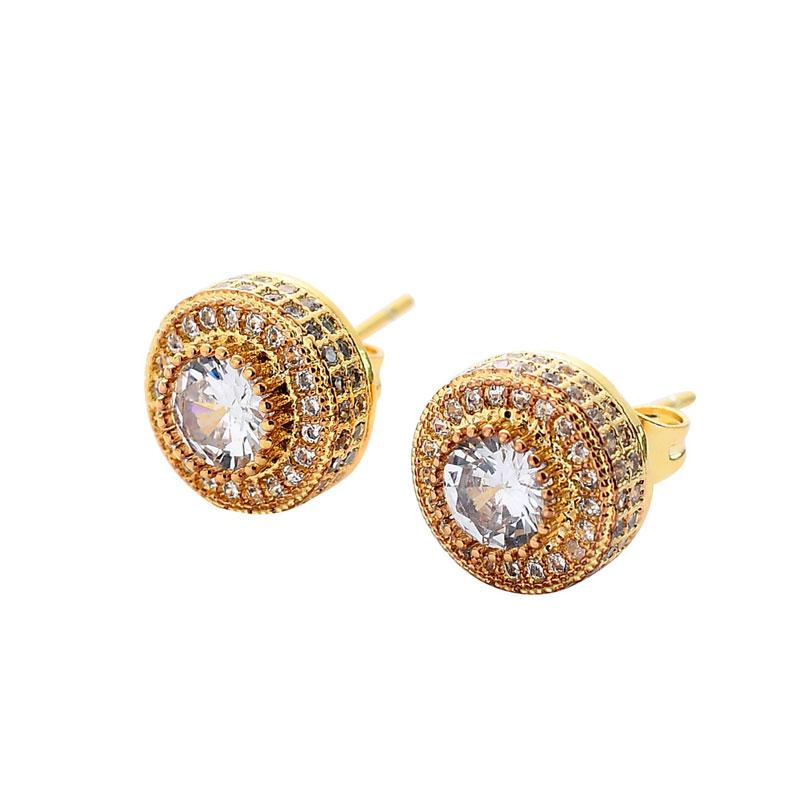 10mm New Iced Out Round Hip Hop Cubic Zircon Stud Earrings for Women Girl Party Bling Bling Jewelry