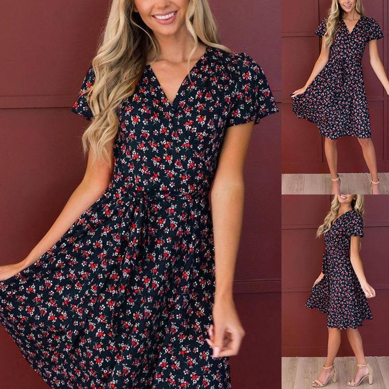 Designers Women Floral Casual Dress Lace High waist 2021 v-neck Summer Sweetheart Short sleeve Plus Size S-2XL