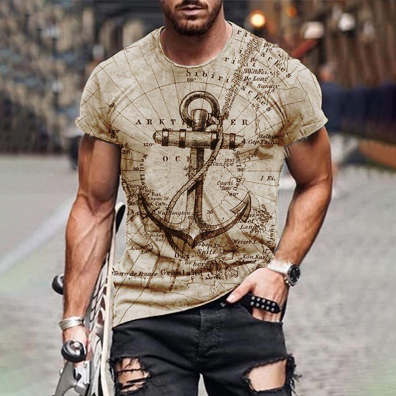 Çapa sert adam tarzı erkek 3D t-shirt grafik optik illüzyon kısa kollu parti üst sokak punk ve Gotik mürettebat boyun yaz