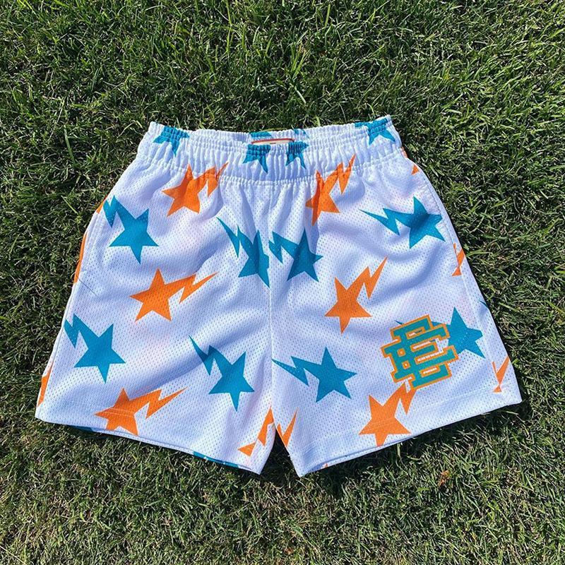 EE Men's Fitness Shorts muscular deportes pantalones cortos diseñador moda casual malla deporte pantalón gimnasio corriendo