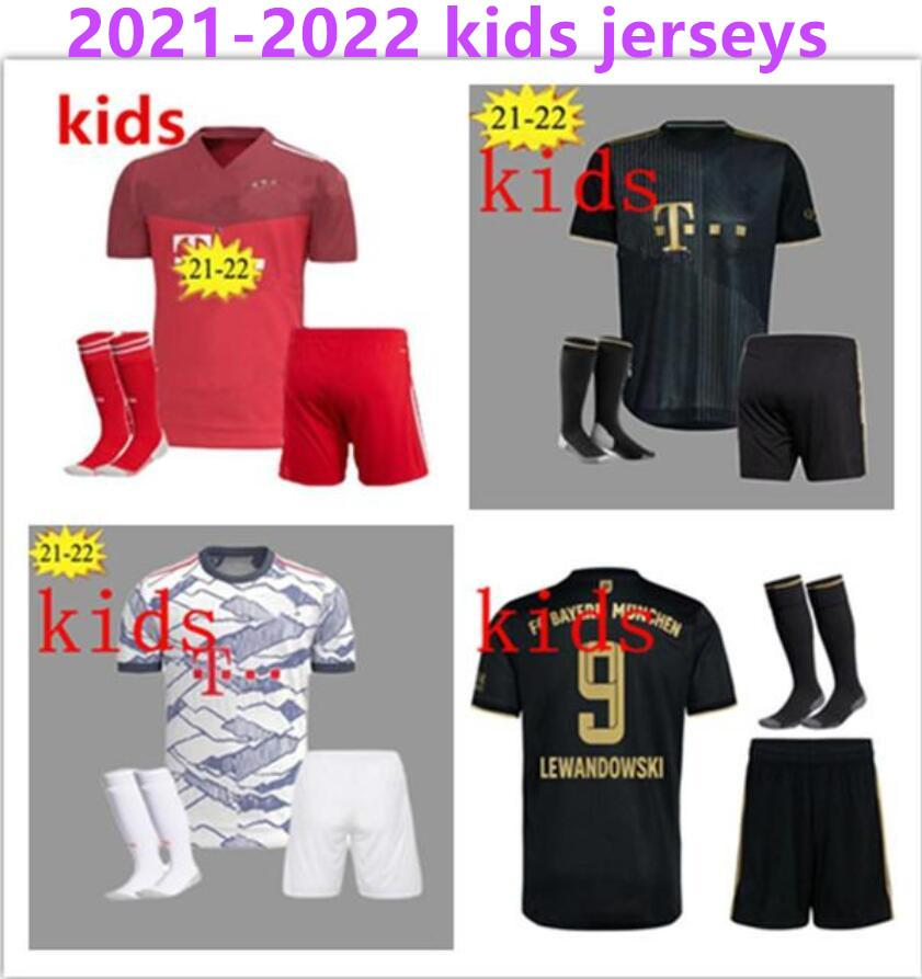 21 22 Çocuk Münih Kiti Futbol Formaları Lewandowski 2021 2022 Hernandez Çocuk Üniformaları Tam Set Futbol