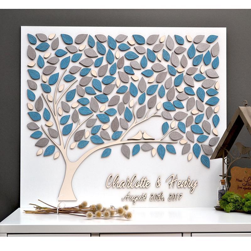Wedding Guest Livro com nomes Ideias exclusivas de assinatura de madeira Guestbooks para presente personalizado 3d tree Outros suprimentos de festa de eventos