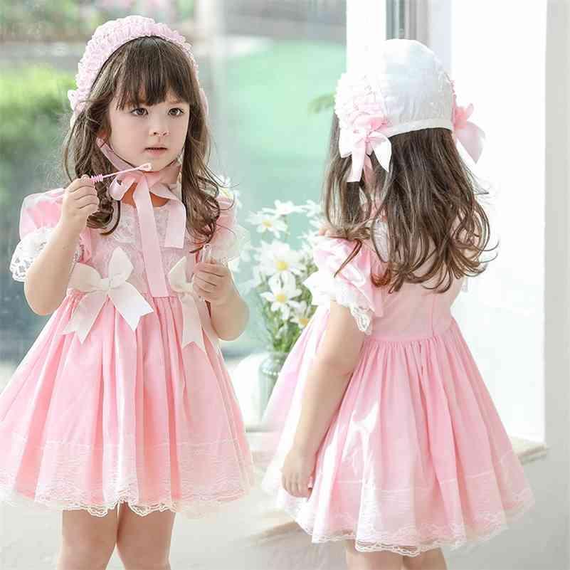 Baby Girl Ropa española Niños Lolita Princess Vestido de encaje vestido real para niña 2021 Vestido floral de túnica de verano 2-10 años 210331