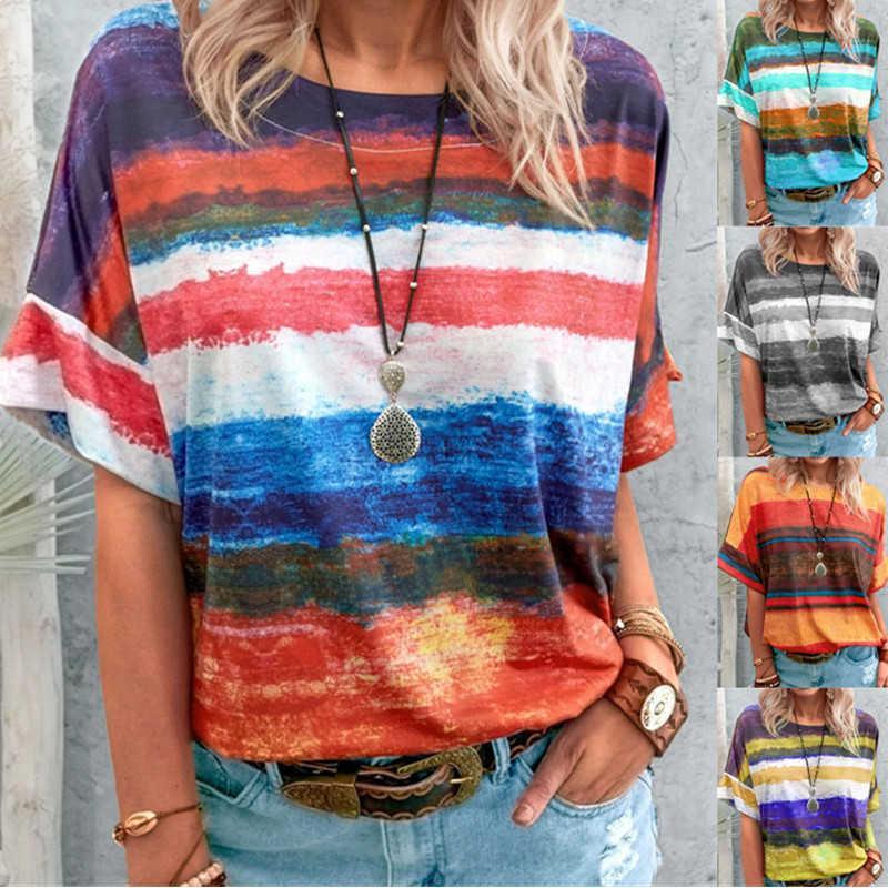 S-5XL Sommer Neue Casual Rainbow Gradient T-Shirt Pullover Frauen Eleganter Rundhalsausschnitt Vintage Streifen Print Streetwear Y0601