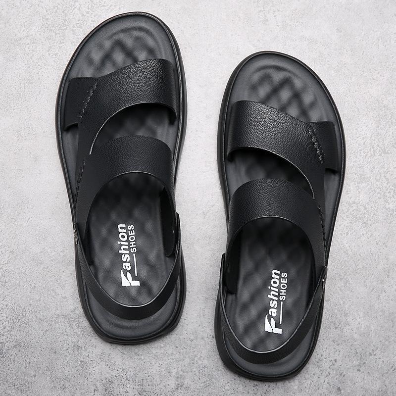 Erkek Terlik Çift Kullanım Yaz Açık Moda Erkek Siyah Plaj Ayakkabı Hakiki Deri Sandalet Lateks Sandalet