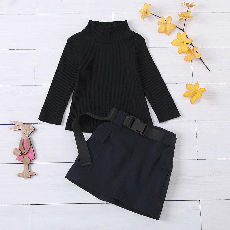의류 세트 봄 키즈 2 PCS 와플 높은 칼라 긴 소매 스웨터 + 벨트 소녀 의상 e3058 0Mn2