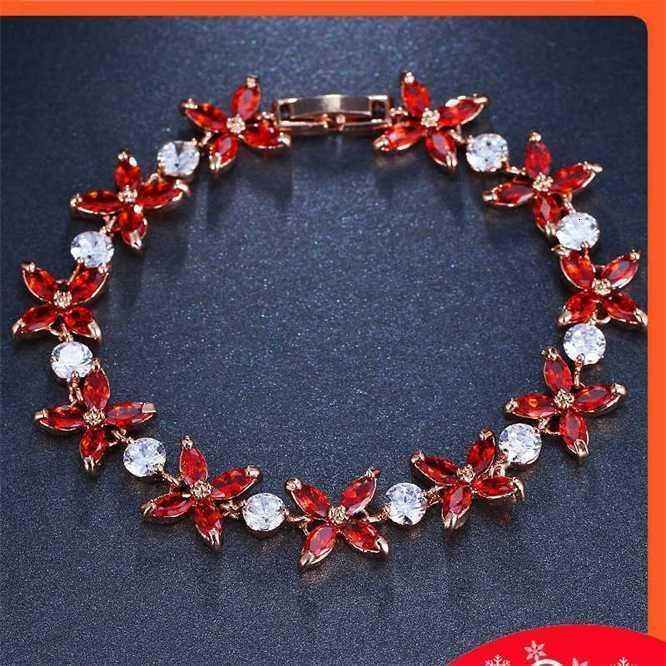 Moda Olive Flower Zircon Mulheres Rose Gold Bracelet Presente para namorada