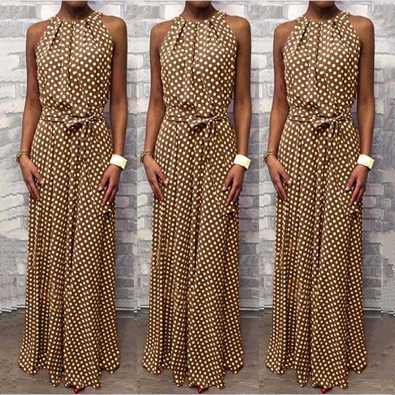 Dot Printing Long Dress Women Sleeveless Halter Neck Coffee Casual Dresses Lady Summer Beach Party Sundress Vestidos
