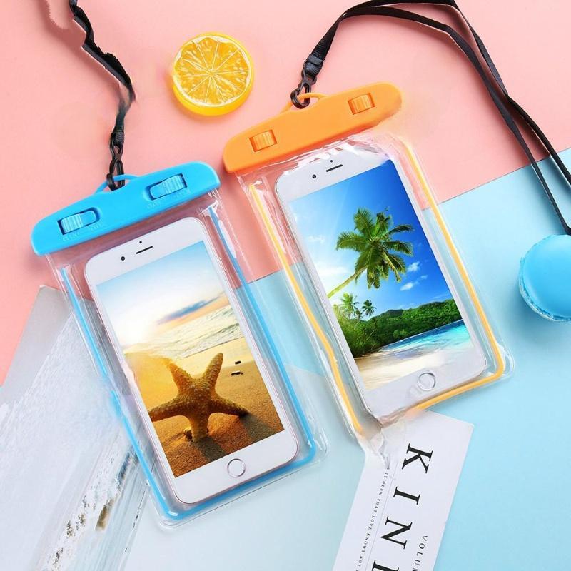 Jardim noctilucente protetor móvel móvel bolsa bolsa caixa de telefone celular mergulho natação esportes pvc para iphone 6 7 / plus s 7