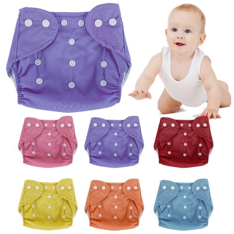 7pcs 조정 가능한 아기 기저귀 재사용 가능한 기저귀 훈련 바지 천 기저귀 Fraldas 겨울 여름 팬티 속옷 커버