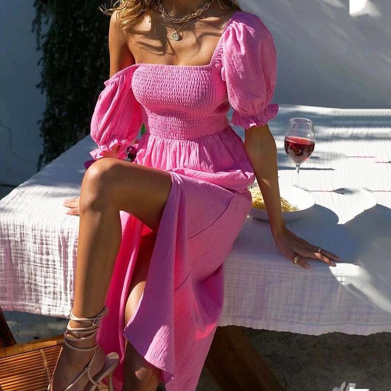 Casual Dresses Elegant Beach Split Dress For Womens Retro Solid Puff Sleeve Waist Mid-length 2021 Summer V-Neck Midi Long Boho