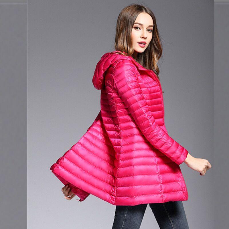 النساء الخريف الشتاء خفيفة رقيقة 90٪ بطة أسفل سترة طويلة الإناث معطف جدا خفيفة ضئيلة الصلبة جاكيتات الشتاء معطف المحمولة سترة S-4XL المحمولة