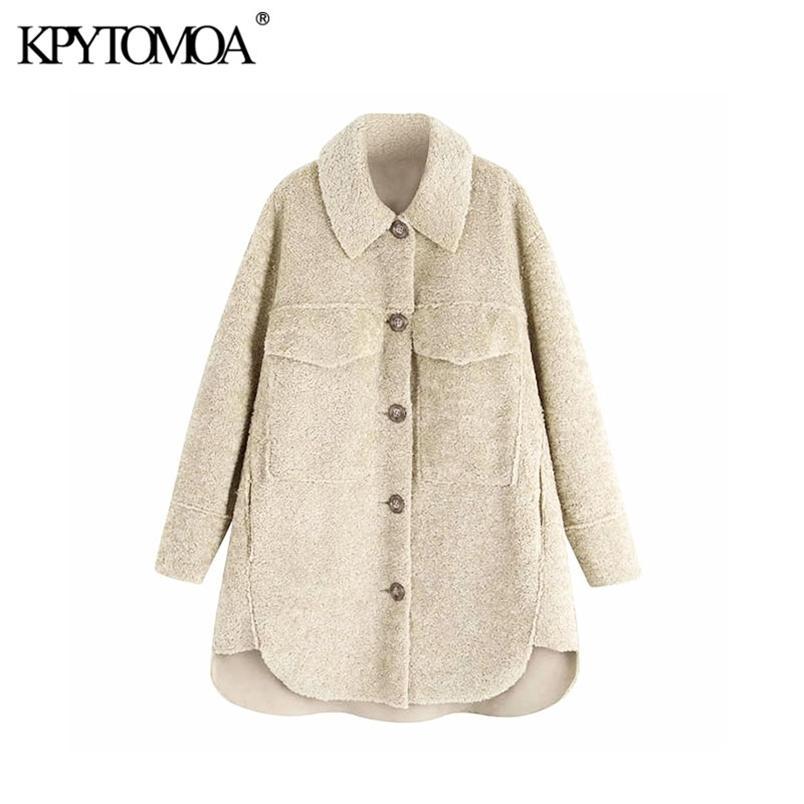 Kadınlar Kış Moda Kalın Sıcak Polar Asimetri Ceket Ceket Uzun Kollu Cepler Kadın Giyim Şık 210420 Tops