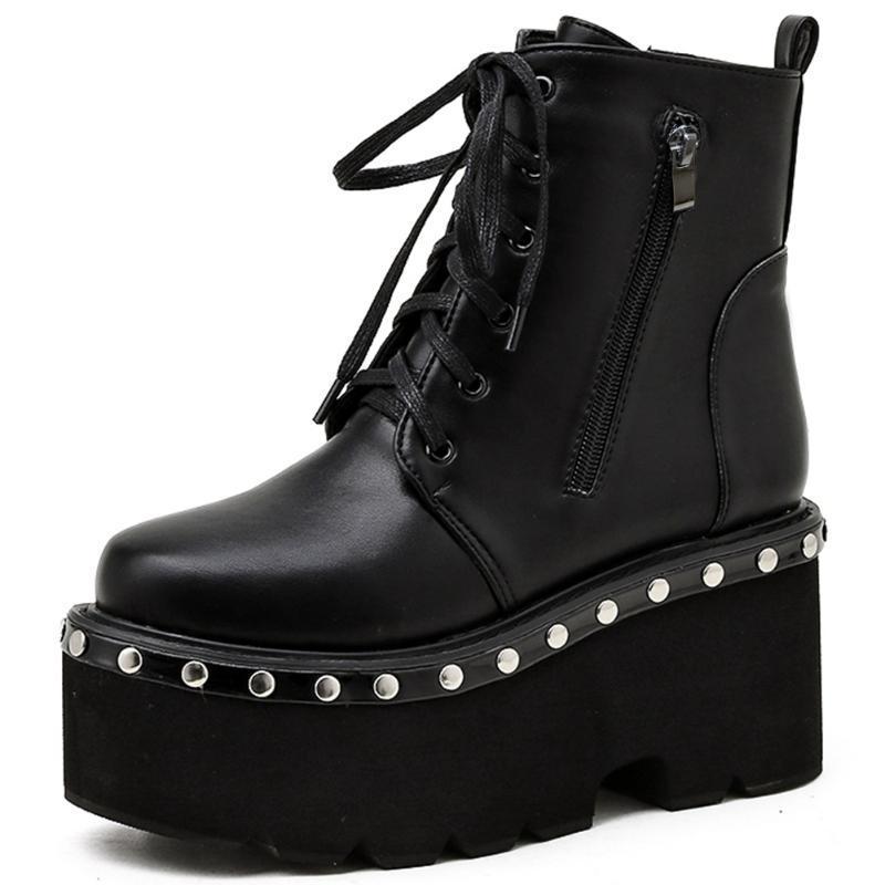Boots Black Chunky Heel Platform Rivet Design Goth Shoes Woman 2021 Brand Arrivals Lace Up Ankle Short Winter Autumn Fashion Sale