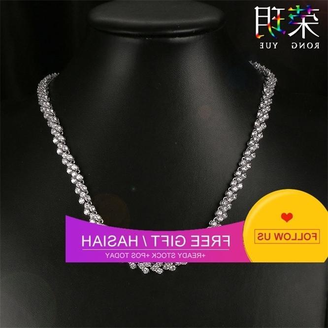 Moda brilhante nupcial AAA redondo zircon prata grande camada dupla colar único