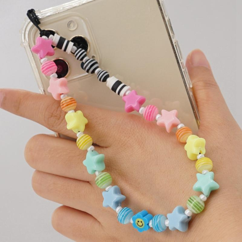 Link, Chain DIY Women Creative Beaded LOVE Strap Cord For Mobile Phone Letter Colorful Round Beads Five-pointed Star