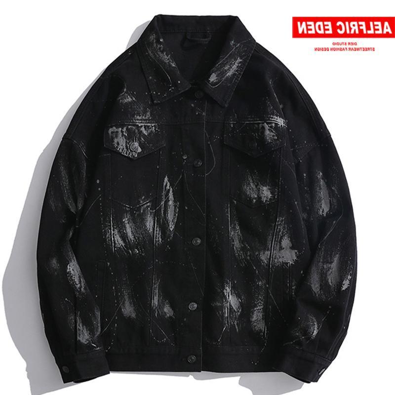 Jaquetas masculinas Hip Hop Oversized Denim S 2021 Vintage Reflexivo Streetwear Jeans Casual Jaqueta Casacos Outwear