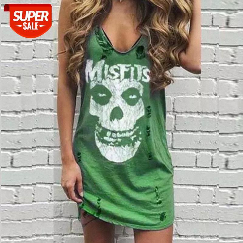 Vestido mulheres verão mangas colete mini casual crânio impressão praia sundress sexy v pescoço festa festa vestidos plus tamanho # sx8i
