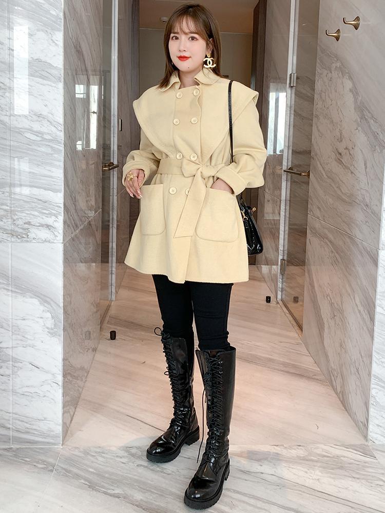 Двухборнувшаясяташковая талия сращивания сращивания мыса шерсть пальто ослабесы женские зимние плюс размеры большого размера две части брюки