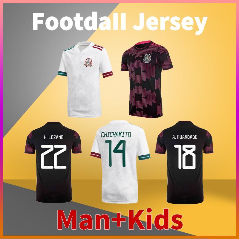 Mexico Home Away Soccer Jersey 20 21 Chicharito G. Dos Santos H. Lozano R. Marquez Herrera A. Guardado Football Shirts Men Tshirts + Kids