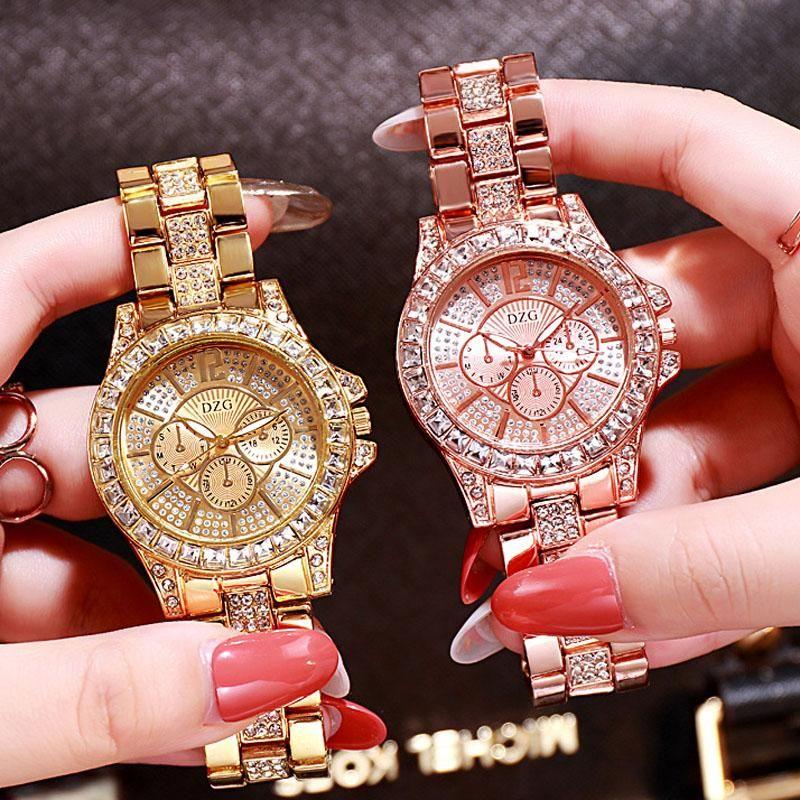 WristWatches Womens Relógios Diamante Top Marca Designer de Aço Inoxidável Senhoras Rose Gold Quartz WristWatch Drop 2021