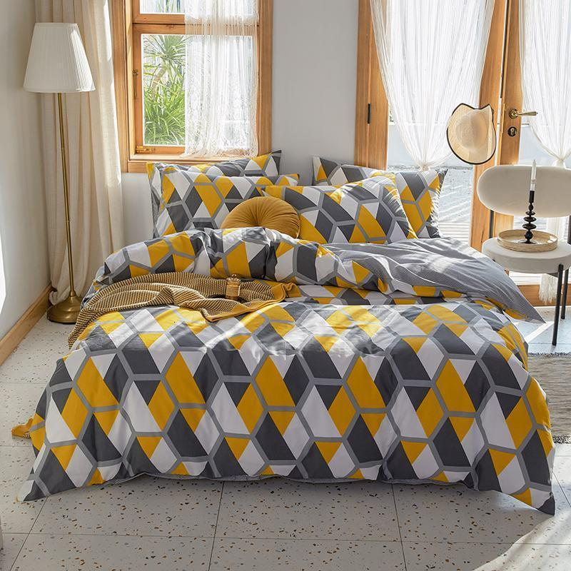 2021 Spring Summer Textile Double All Cotton Printing Home Nordic Style Bed Sheet, Fitted Sheet and Quilt Set