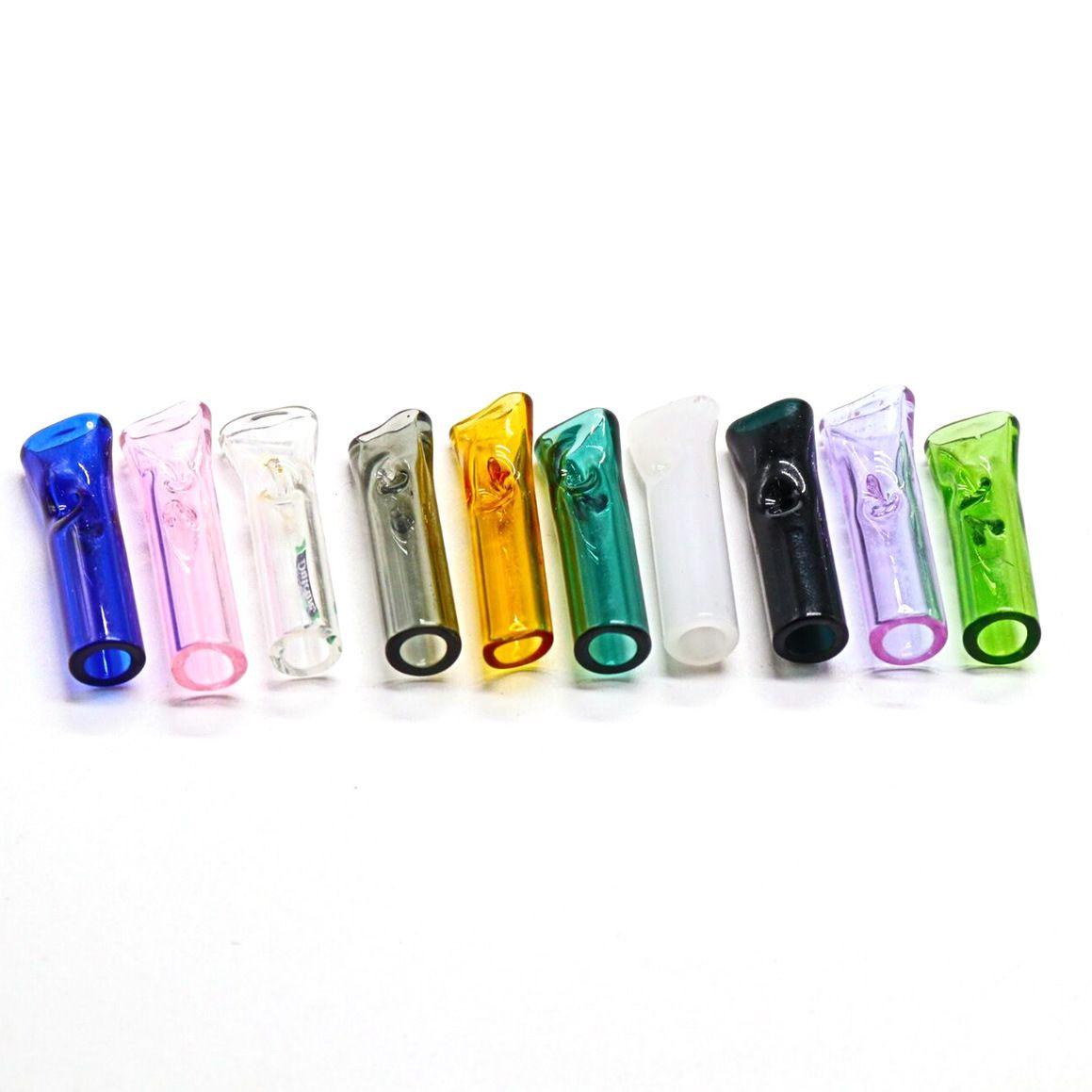 Mini tubulações de cigarro de tabaco titular titular de filtro de vidro pode ser usado para fumar cigarros originais com uma boca rodada plana tubo bonito fumar pyrex transparente manchado