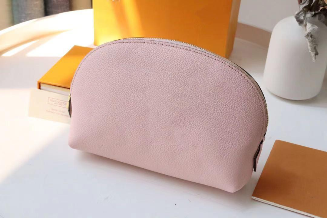 M80502 pink makeup bag COSMETIC POUCH ladies pattern leather Pochette Cosmetique purses organizador toiletry bags famous women travel totes small clutch wallet