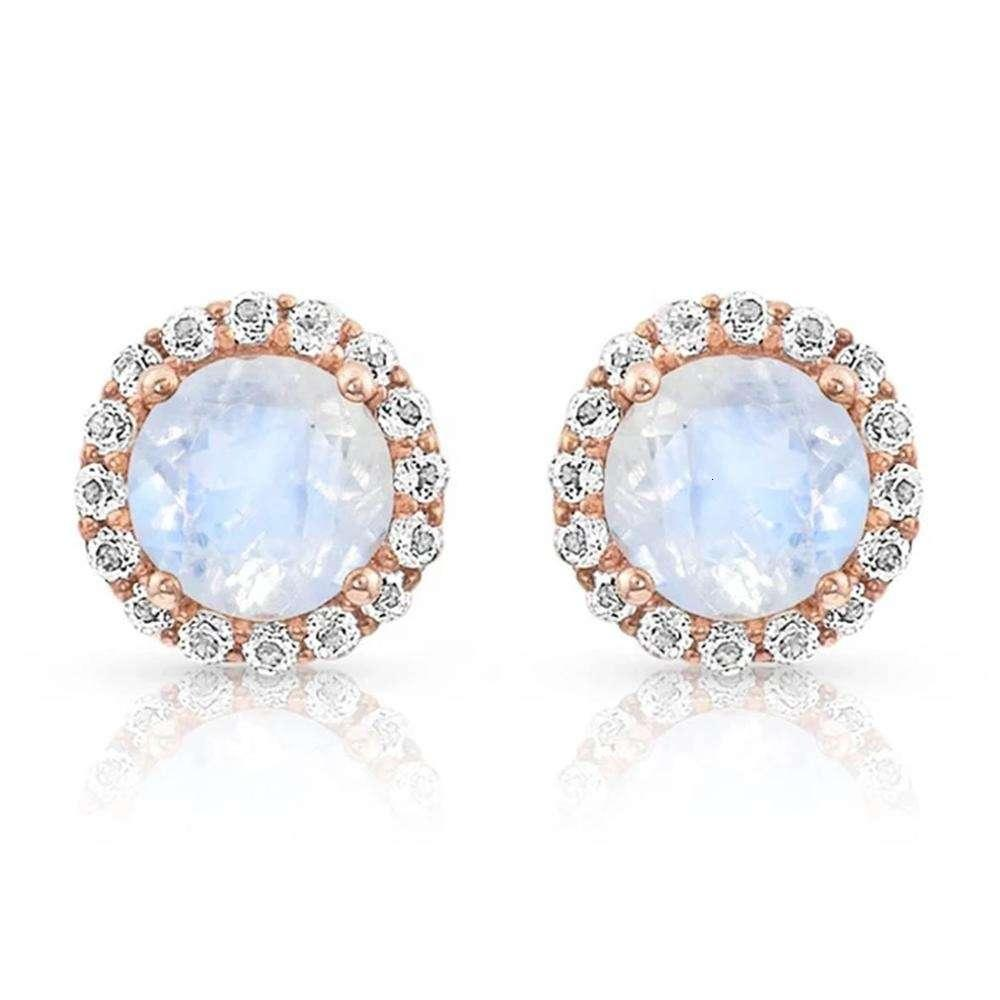 925 Sterling Sier Studs 7mm Moonstone Stud Earrings Natural Rainbow Moonstone jewelry