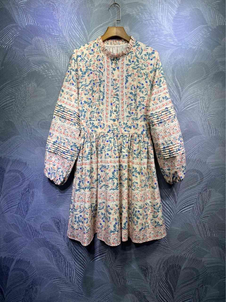 ZIM dress Australia spring high-quality stand-up collar printing stitching holiday