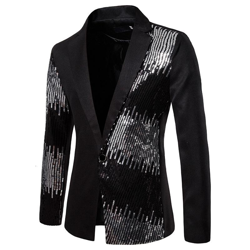 2019 Men Shiny Sequin Blazer Jacket Coats Casual Wedding Party Mens Blazers Autumn Casual Slim Fit Long Sleeves Suit Jacket Red