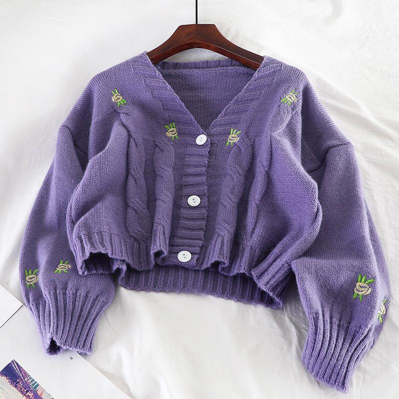 가을 겨울 형 여성 카디건 탑 아름다운 자수 긴 소매 니트웨어 코트 냄비 냄비
