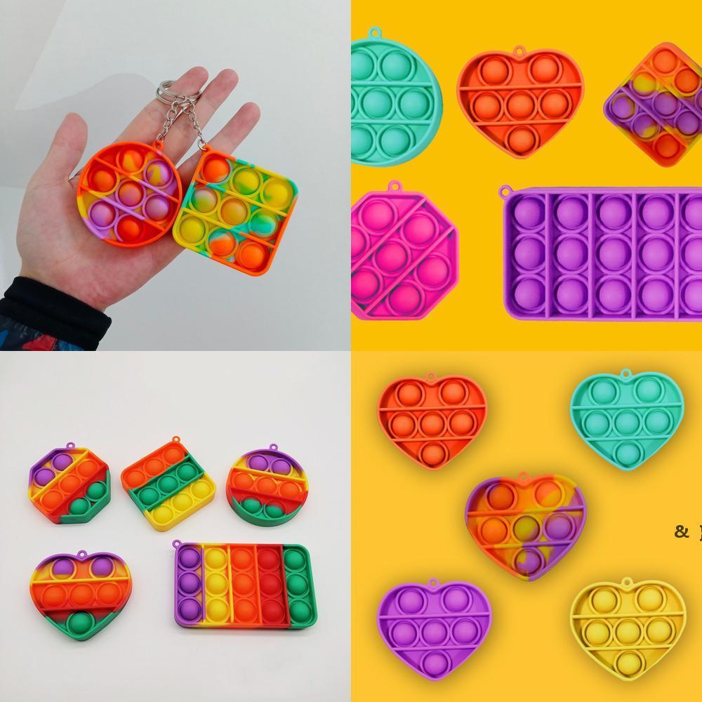 Rainbow Simple Dimple Key anneau Push Fidget Bubble Keychain Cartoon Sensory Jouets Doigt Fun Puzzle Squeeze Ball BWB6583