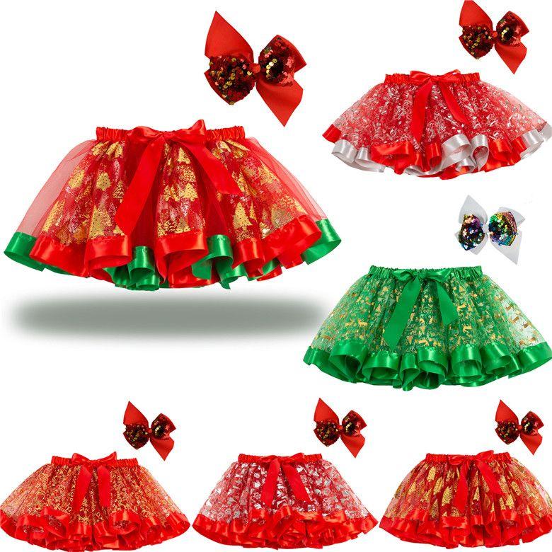 Mini courtes enfants Enfants Jupes courtes 2021 Volants Big Bow Sash Red Green De Noël Design Tutu jupon Robe de danse de vacances