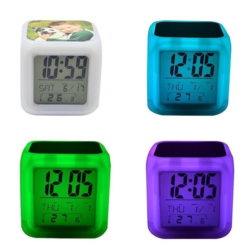 DIY Transferencia térmica cuadrada LED TOUCH TOUCH TOUCH TOUCH PANTALLA Alarma Colorido colorido Luminoso Cambios de color Número Aviso de reloj Noche Luz de noche