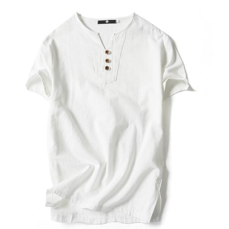 Estilo Camisetas Para Homens Verão Plus Size Chinês Loose Algodão Manga Curta V Neck camiseta Para Homens Moda PoloShirt Camisa Men
